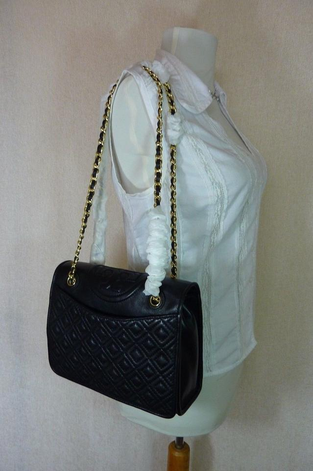 Leather Tory Quilted Fleming Burch Black Shoulder Bag wq0IAqr