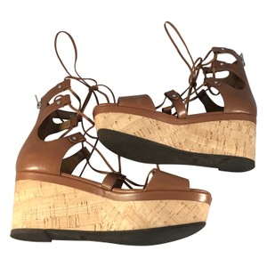 Coach Coachella Gladiator Wedge Platform Brown Sandals