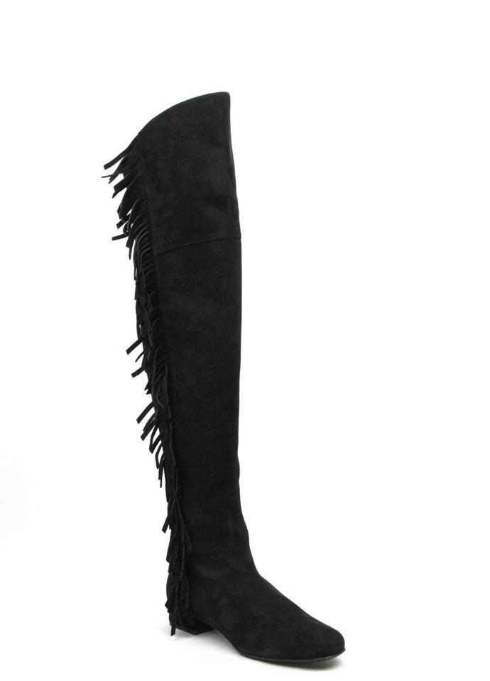 Saint Laurent Black Suede 37/Us Over The Knee Fringed 37/Us Suede 7 438270 Boots/Booties 971fd7