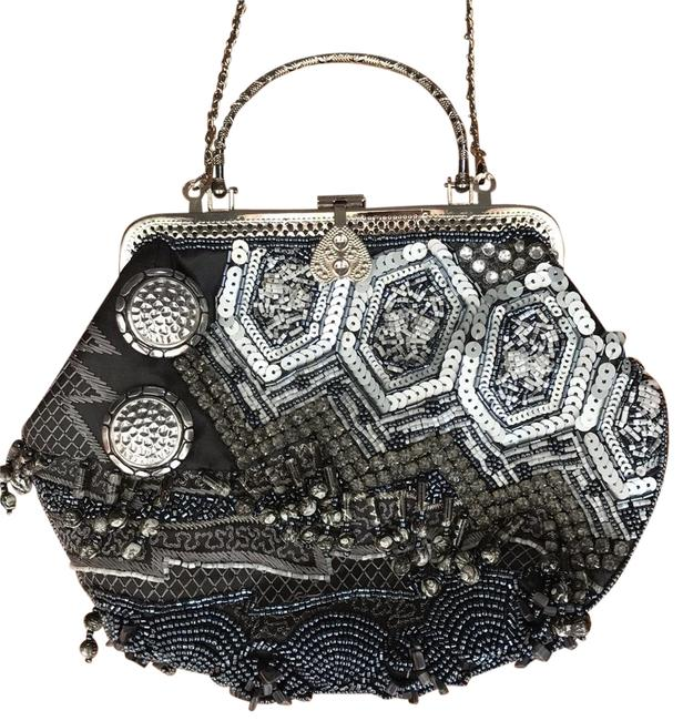 Item - Beaded Shoulder Strap Gray Blue and Silver Nylon with Beading Clutch