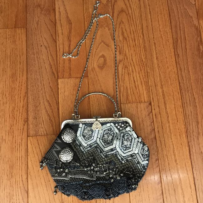 Chico's Beaded Shoulder Strap Gray Blue and Silver Nylon with Beading Clutch Chico's Beaded Shoulder Strap Gray Blue and Silver Nylon with Beading Clutch Image 2