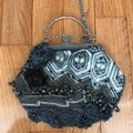 Chico's Beaded Shoulder Strap Gray Blue and Silver Nylon with Beading Clutch Chico's Beaded Shoulder Strap Gray Blue and Silver Nylon with Beading Clutch Image 4