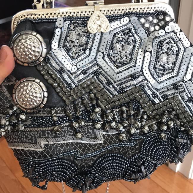 Chico's Beaded Shoulder Strap Gray Blue and Silver Nylon with Beading Clutch Chico's Beaded Shoulder Strap Gray Blue and Silver Nylon with Beading Clutch Image 6