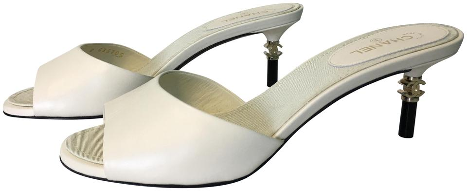 952dc5ffcb17d7 Chanel Ivory Classic Metal Cc Logo Heels Leather Slip-on Peep-toe Mules  Sandals