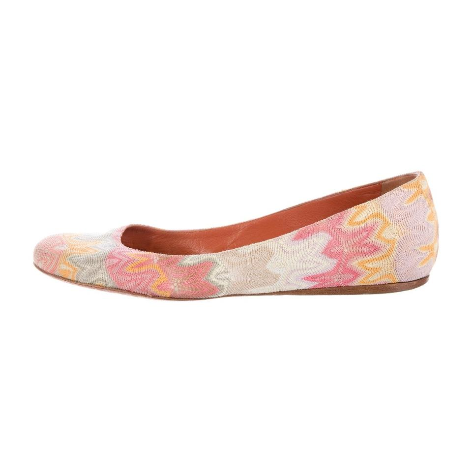Missoni Made Multi Color Crochet Knit -ballet Made Missoni In Italy 391/2 Flats d9846b