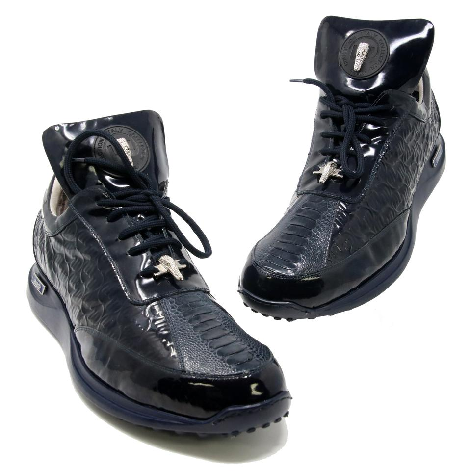 superior quality df46f 3c7bf Dark Blue Italy Collection Gator Patent Leather Leisure 46 Sneakers Size US  13 Regular (M, B) 74% off retail