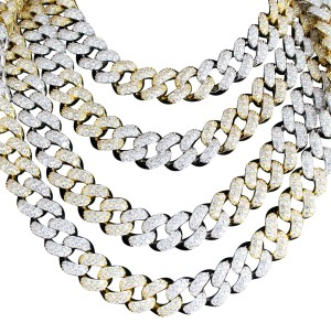 Master Of Bling Men's 14k Gold Finish Two Tone 15 mm Miami Cuban Necklace Chain