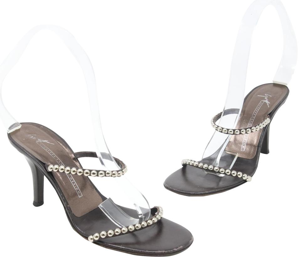 d60125b9d96585 Giuseppe Zanotti Dark Brown Classic Studded Leather Strappy Mule Heels 36.5  Sandals