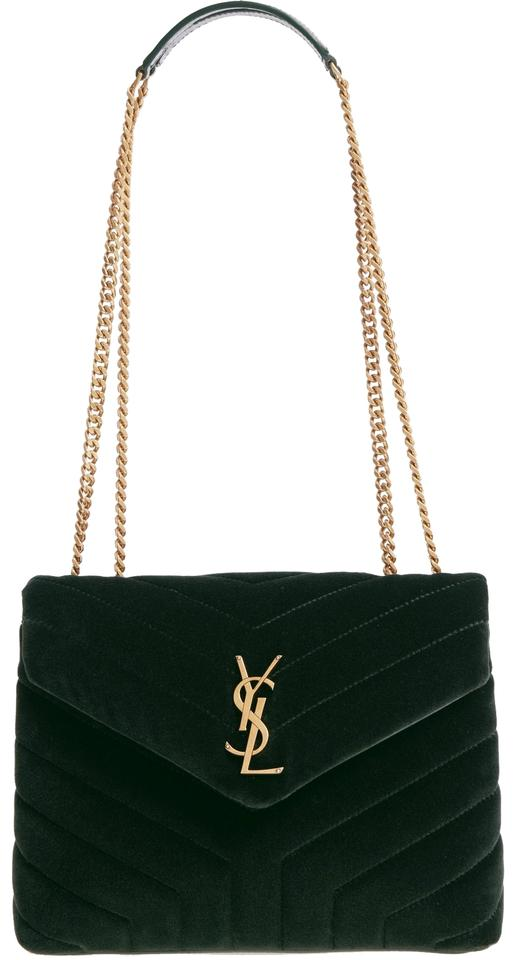 Shoulder Fonce Small New Loulou Saint Vert Laurent Velvet Monogram Bag YT8qAw7xB