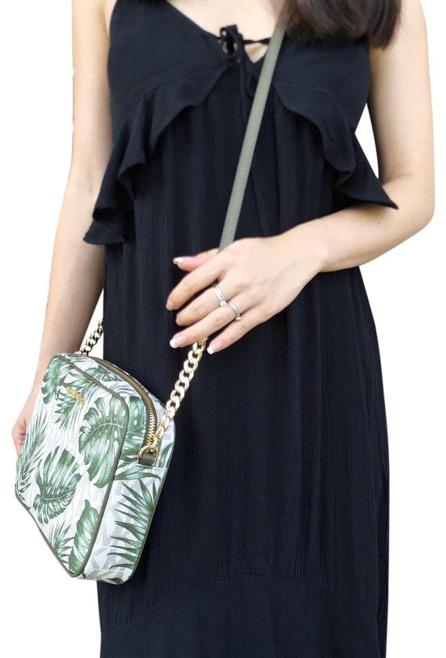 a34b039a22ff Michael Kors Jet Set East West Large Mk Palm Leaves Vanilla Olive Green  Leather Cross Body Bag