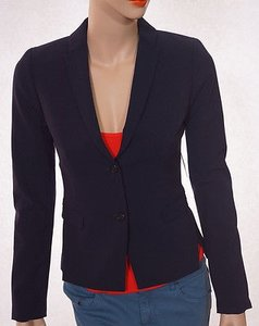 Tahari Tahari Tucker Jacket Womens Lined Padded Button Suit Blazer-navy-2