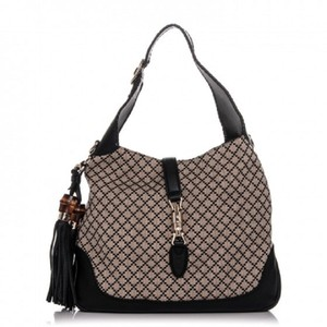 Gucci Jackie Diamante Canvas Leather Hobo Bag