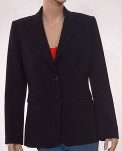 Tahari Tahari Arthur S. Levine Womens Black Brown Pinstripe Lined Suit Jacket Blazer