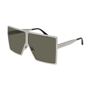 Saint Laurent NEW Saint Laurent SL 182 Betty Silver Metal Shield Oversize Sunglasses
