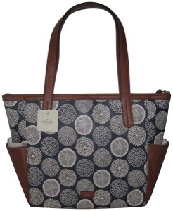 Fossil Tote in Navy/White