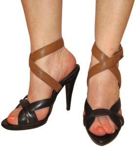 BCBGMAXAZRIA High Anklestrap Leather Sexy black brown Sandals
