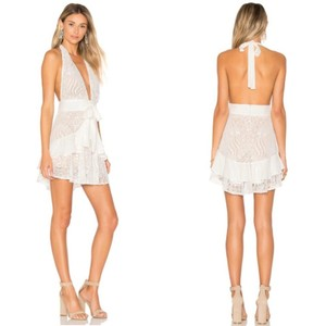 For Love & Lemons White Lace Lily Halter Casual Wedding Dress Size 12 (L)