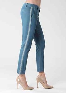 Paige Blue Stripe Skinny Leg Women 25 Capri/Cropped Denim