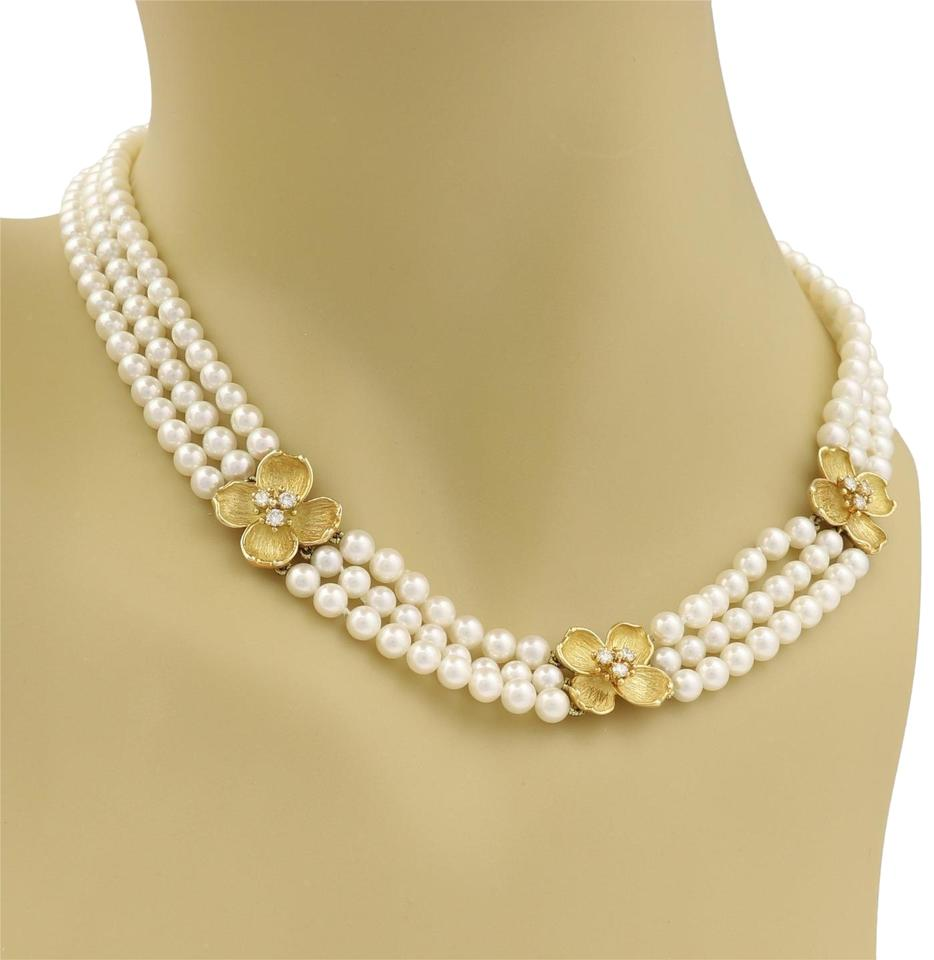 afa20df2c49a01 Tiffany & Co. Diamond 18k Yellow Gold Dogwood Flower 3 Strand Pearl  Necklace Image 0 ...