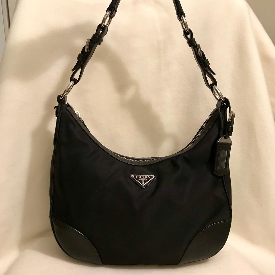 ae7139017464b1 Prada Tessuto Black Nylon and Leather Hobo Bag - Tradesy