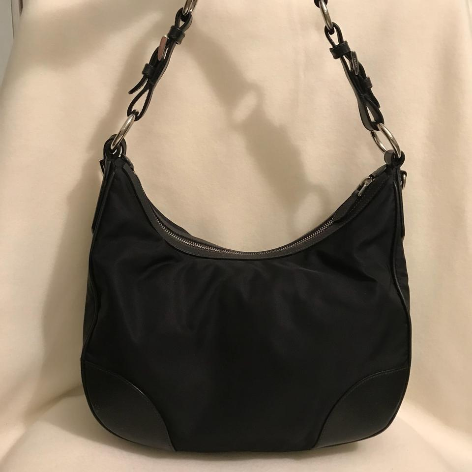 bc5380038877cd Prada Tessuto Black Nylon and Leather Hobo Bag - Tradesy