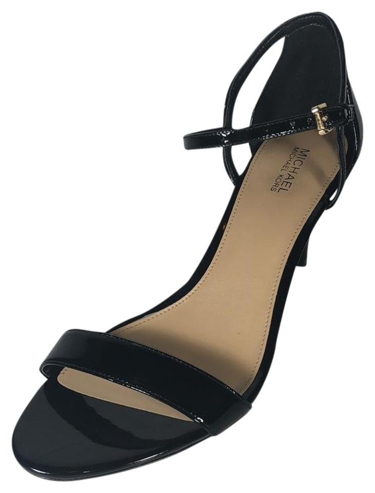 21a7c43a75a0 Michael Kors Black Simone Patent-leather Sandals Size US 9 Regular ...