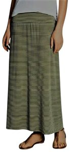 Vince Camuto Teeny Stripe Fold Over Band Maxi Skirt Green & White