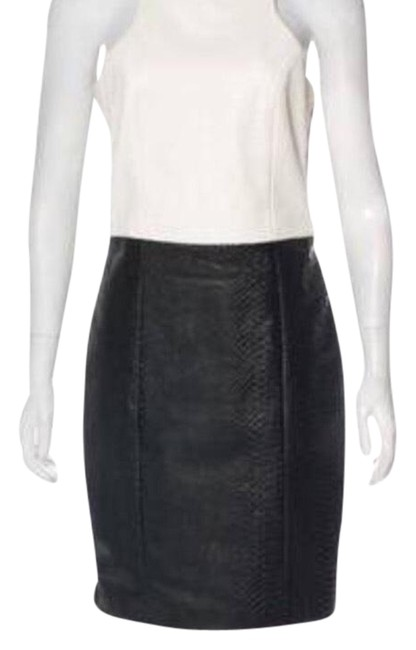 Item - Black and White Leather-paneled Knee-length Short Night Out Dress Size 4 (S)