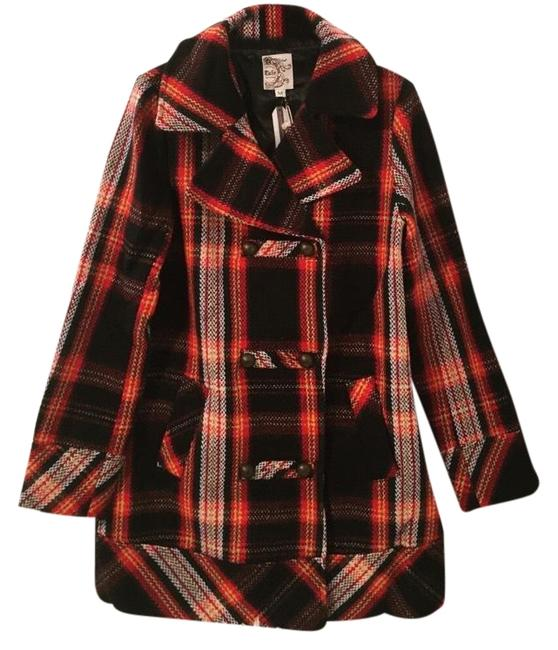 Item - Navy and Orange Plaid Double Breasted In Coat Size 8 (M)