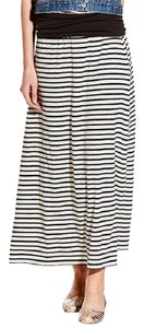 Vince Camuto Fold Over Band Small Stripe Maxi Skirt Black & Ivory