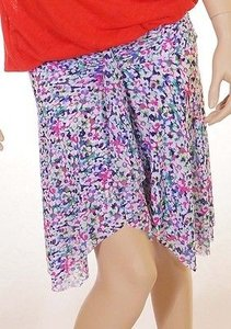 Profile By Gottex Womens Plum Floral Stretch Above Knee Tiered Skirt Multi-Color