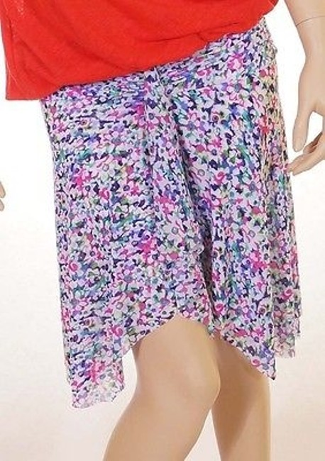Profile Gottex Womens Plum Floral Stretch Above Knee Tiered Skirt Multi-Color