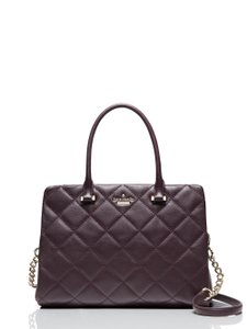 Kate Spade Olivera Quilted Leather Shoulder Satchel in Mahogany