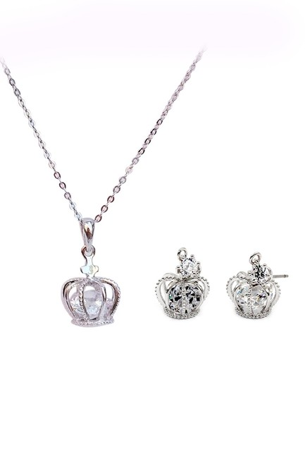 Ocean Fashion Silver Crown Crystal Earrings Necklace Ocean Fashion Silver Crown Crystal Earrings Necklace Image 1