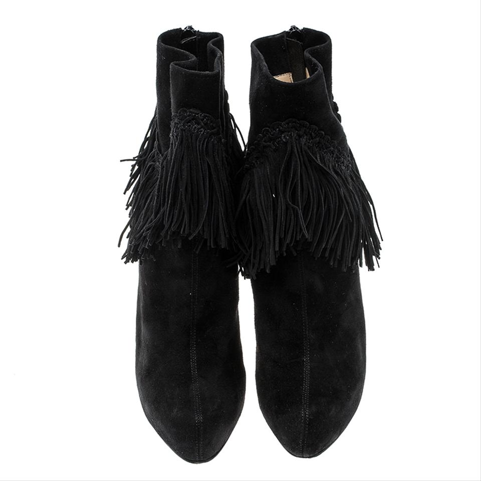 Black Platform Ankle Louboutin Fringe Detail Christian Boots Rom Booties Suede 5Ynnqg