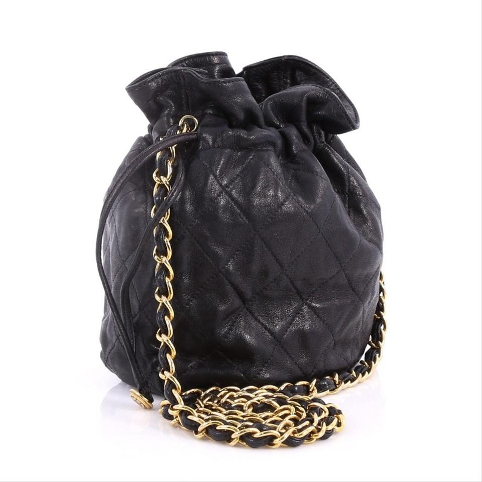 dc506d63eed6b7 Chanel Drawstring Vintage Bucket Quilted Mini Black Lambskin ...