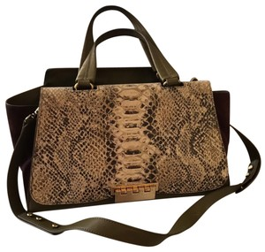 ZAC Zac Posen Satchel in snake skin front flap, olive leather, dark purple suede sides, gold hardware