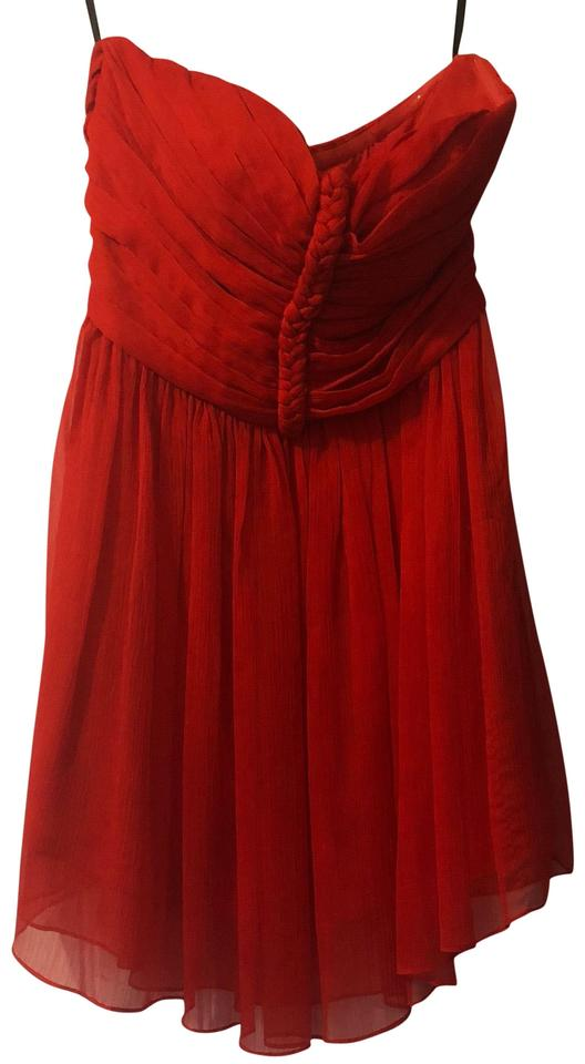 ba8a0a794199 bebe Red Brightred Chiffon Strapless Xs Short Cocktail Dress Size 2 ...