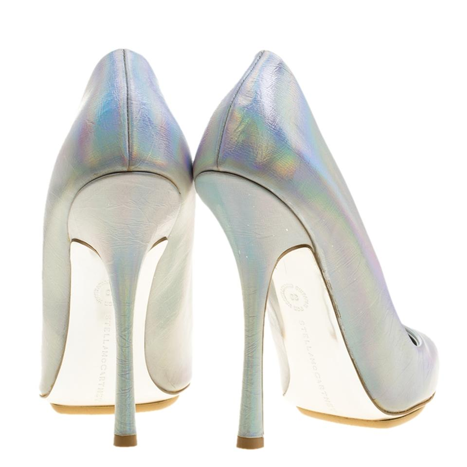218c179be3ae Stella McCartney Silver Leather Pointed Toe Metallic Pumps Image 7. 12345678