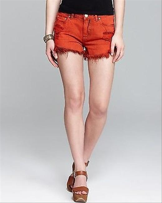 Free People Denim Women Distressed Cut Off Shorts Sunrise Red