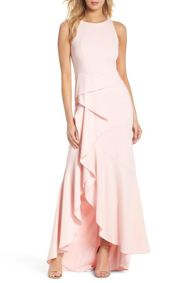 cf9599138ff Adrianna Papell Pale Shell Sleeveless Cascading Ruffle Gown Long ...