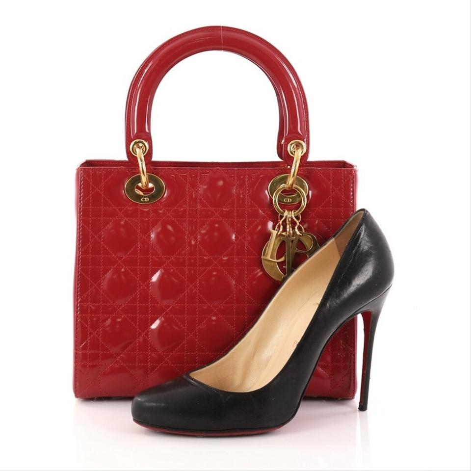 Patent Quilt Cannage Handbag Red Medium Dior Lady Tote Dior UqzUwx40