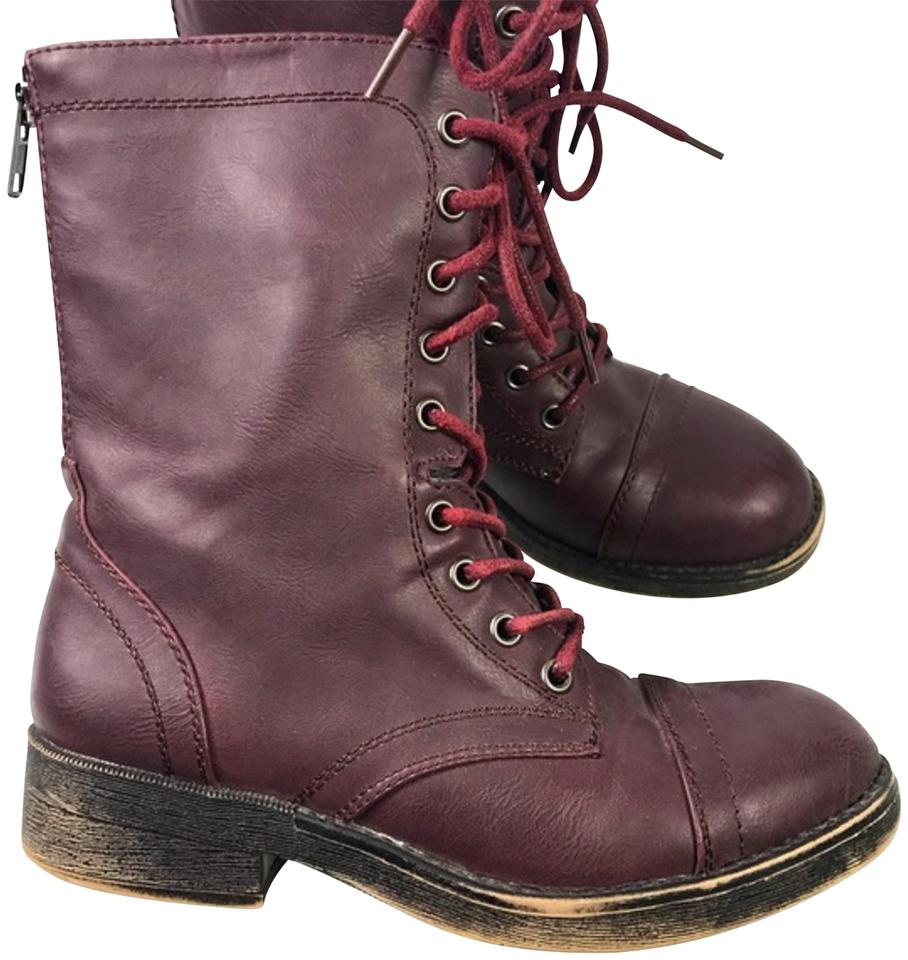 6622274acb28 Madden Girl Red Maroon Distressed Sole Combat Boots Booties. Size  US ...