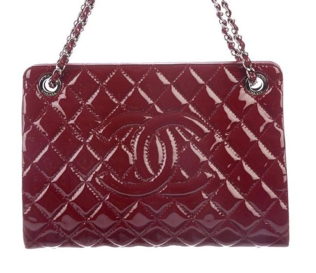 Item - Shopping Quilted Grand Purse Cc Logo Deep Red Rouge Patent Leather Tote
