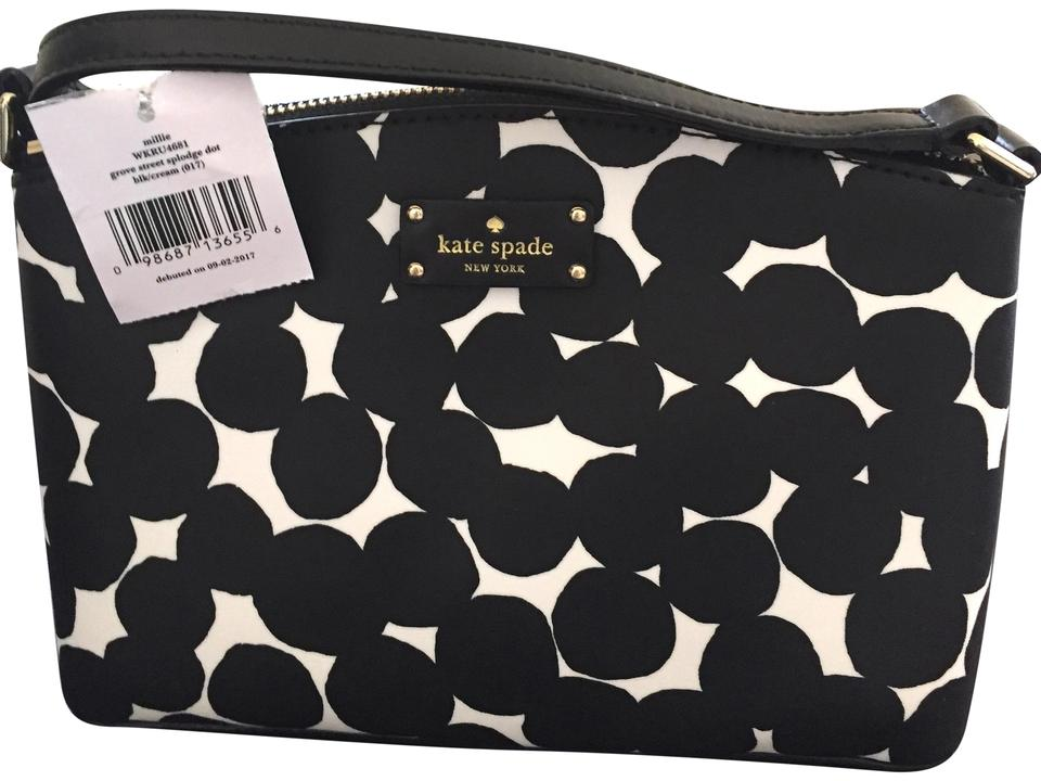 92861b6009cb Kate Spade New York Grove Street Millie Shoulder Handbag Purse Black Cream  Leather Cross Body Bag