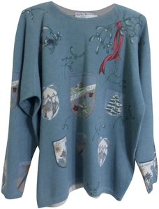 Blumarine Anna Molinari Vintage Travel Stickers Wool Cashmere Sweater