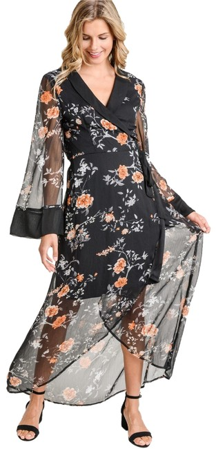 Jodifl Black Floral Wrap In S Long Night Out Dress Size 4 (S) Jodifl Black Floral Wrap In S Long Night Out Dress Size 4 (S) Image 1