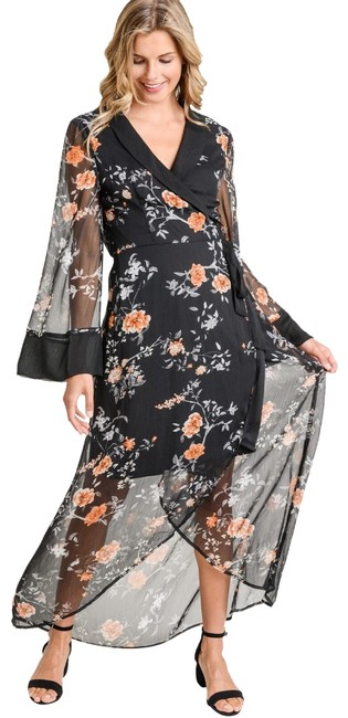 Item - Black L Floral Wrap In Long Night Out Dress Size 12 (L)