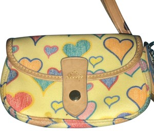 Dooney & Bourke Wristlet in cream with colorful hearts