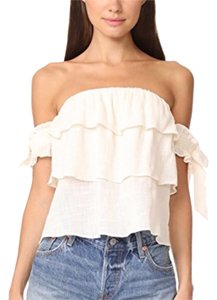 MISA Los Angeles Off Shoulder Linen Top Cream